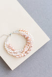Bliss Chunky Wedding bracelet handmade from beads and swarovski pearls that are custom and made to order bridal accessory in shades white, cream and light pink