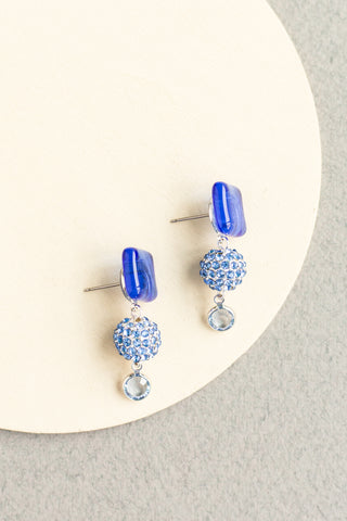 Amour Wedding Drop Earrings made from fused glass and swarovski crystals custom and made to order bridal jewelry in dark blue with silver findings