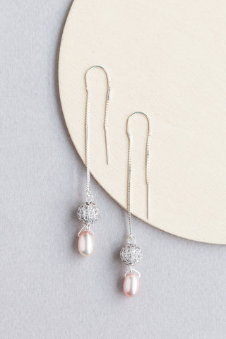 Eden long and thin drop beaded earrings made with pearls and swarovski elements and silver findings handmade by people with disabilities