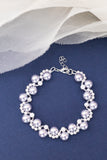 Everafter slim Wedding bracelet handmade from beads and swarovski pearls that are custom and made to order bridal accessory in shades of white and lavender handmade by people with disabilities