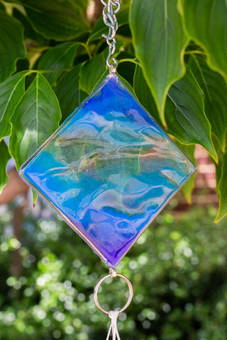 light blue fused glass wind chime