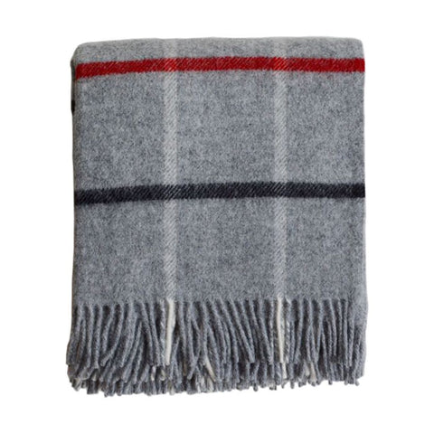 British Pure Wool Blanket Grey Check