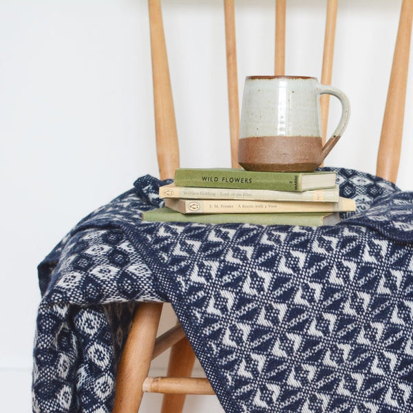 British Pure Wool Cobweave Throw Navy