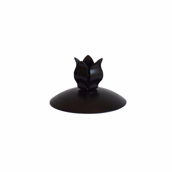 Petal Dinner Candle Holder Black