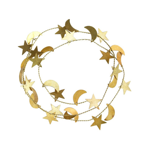 Brass Christmas Garland Star and Moon