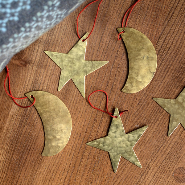 Brass Christmas Ornament Moon
