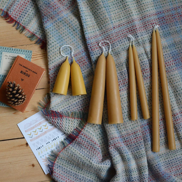 English Beeswax Long Dinner Candles