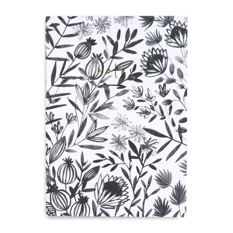 Gold Leaf Notebook Grey Floral