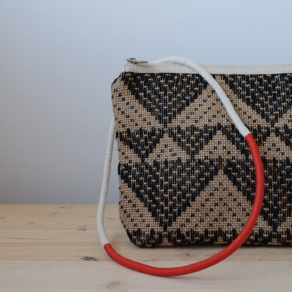 Jute Clutch Bag Natural Black