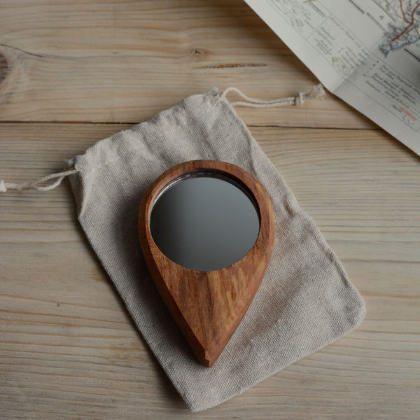 Hand Carved Pocket Mirror Elm