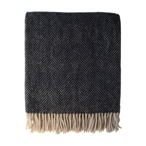 British Pure Wool Herringbone Throw Brown