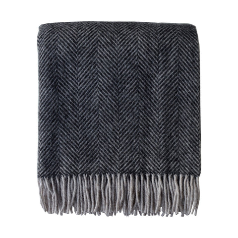 British Pure Wool Herringbone Throw Charcoal