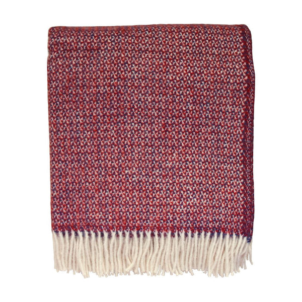 British Pure Wool Blanket Crimson