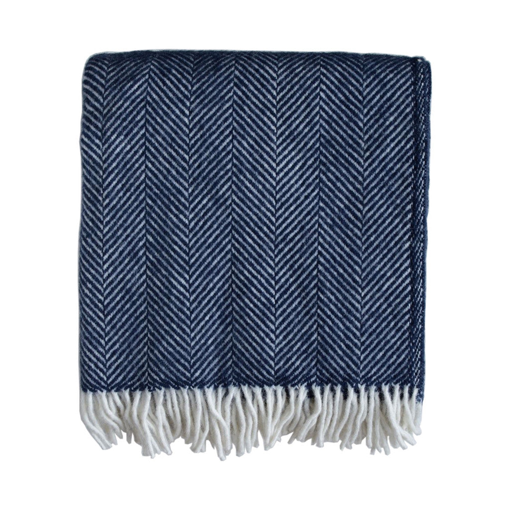 British Pure Wool Herringbone Throw Navy