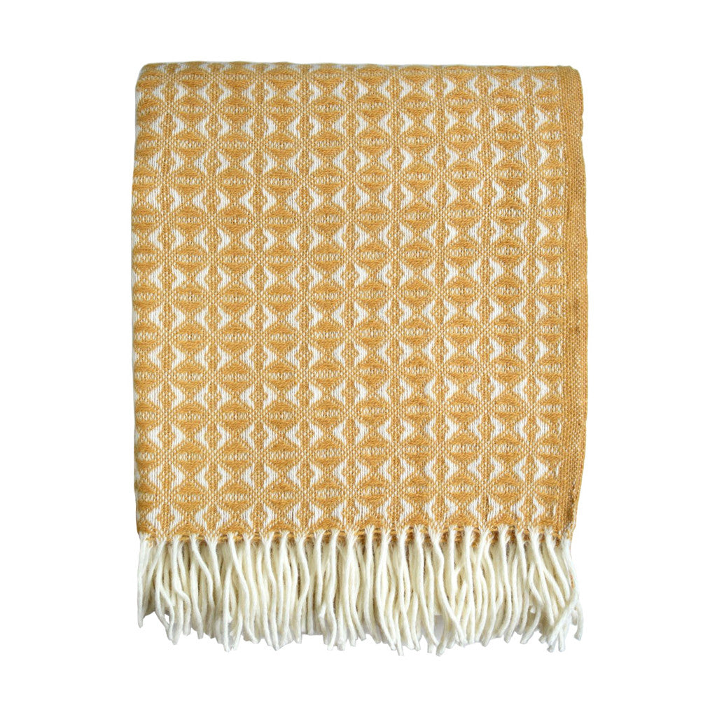 British Pure Wool Cobweave Throw Mustard