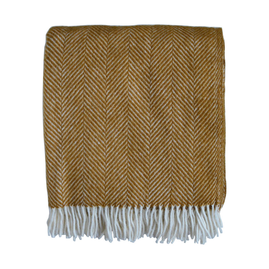 British Pure Wool Herringbone Throw Ochre