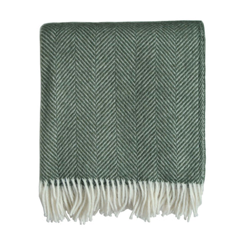 British Pure Wool Herringbone Throw Sage