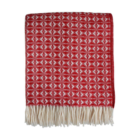 British Pure Wool Cobweave Throw Red