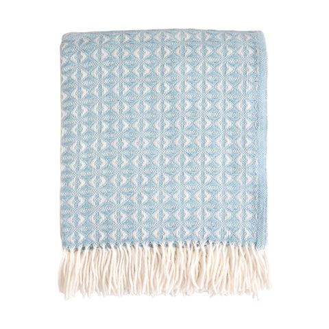 British Pure Wool Cobweave Throw Duck Egg