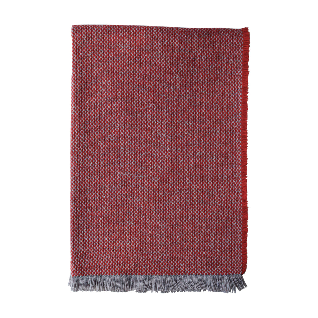 British Recycled Crosshatch Throw Crimson