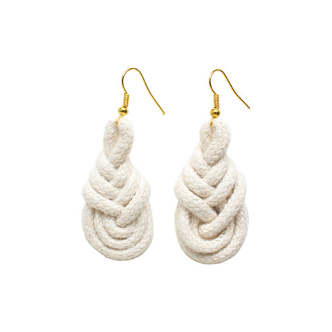Knotted Rope Earrings Natural