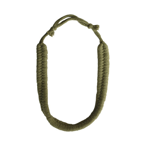 Long Knotted Rope Necklace Olive