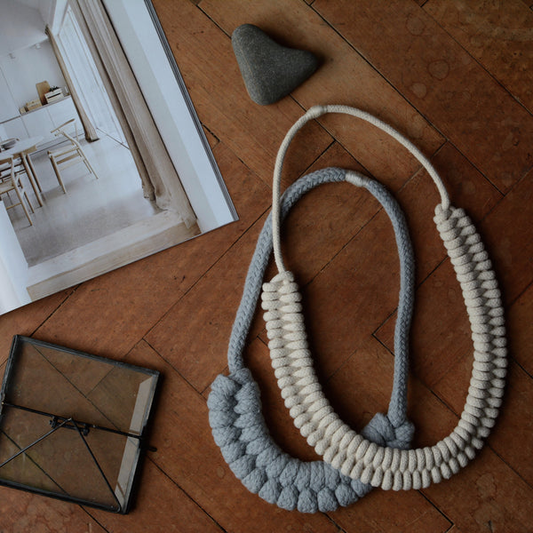 Knotted Rope Necklace Grey
