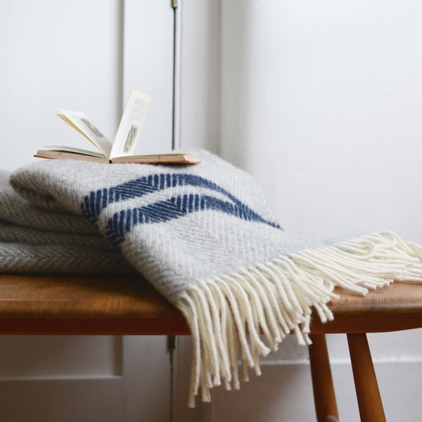 British Pure Wool Herringbone Throw Grey