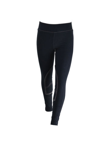 Kids Denim Style Diamante Riding Leggings by Hy