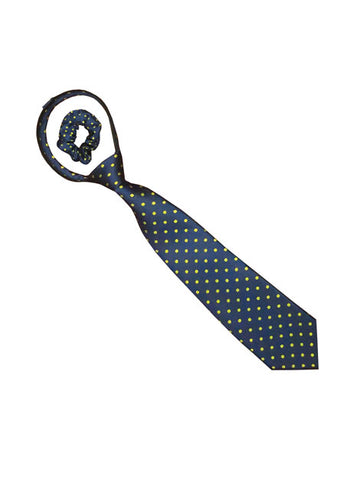 Polka Dot Zipper Tie Navy with Gold Dots