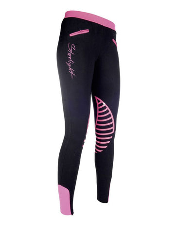 HKM Silicone Knee Riding Tights for Children - Black / Pink