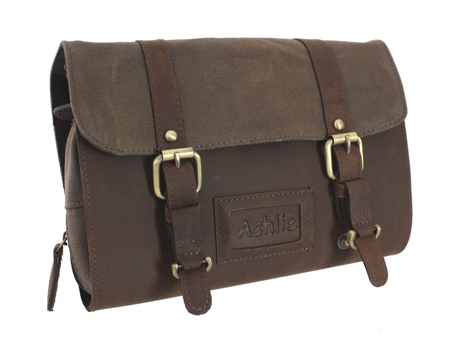 Ashlie Leather Oiled Leather and Fabric Gents Hanging Washbag 7010 ... 0ca4880d0f9ce