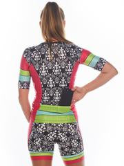 Women's Sleeved Triathlon Top in Tropical Punch