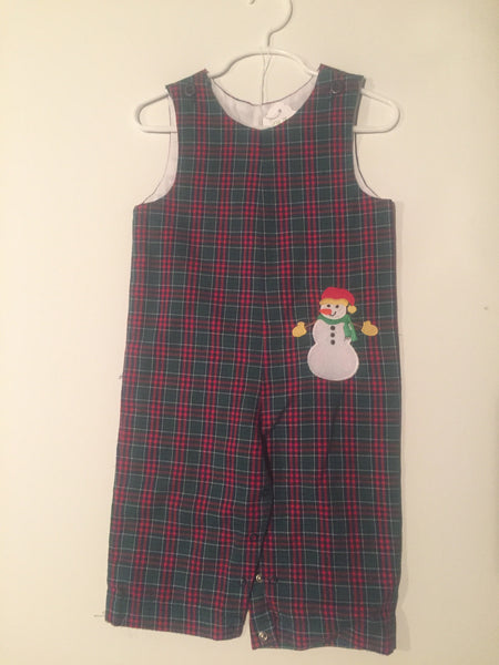 Plaid Boys Longall With Snowman Applique Size 18 months