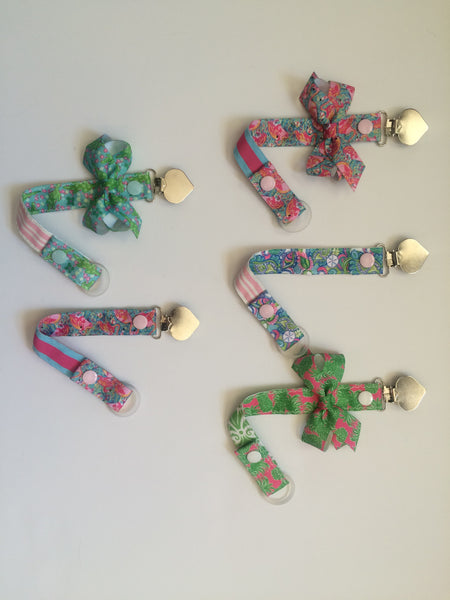 Girls Pacifier Clips with bow