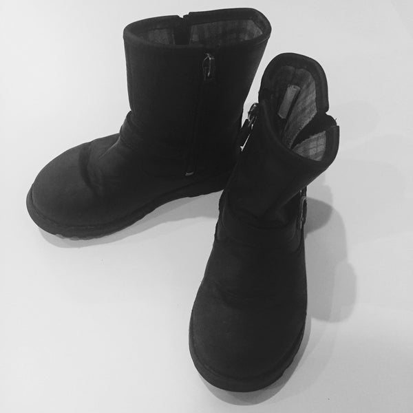 Black Ugg Leather Toddler Boots with Buckle Detail