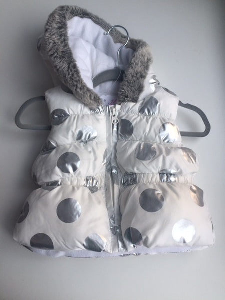 White with Silver Polka Dots and fur lined hood puffer vest