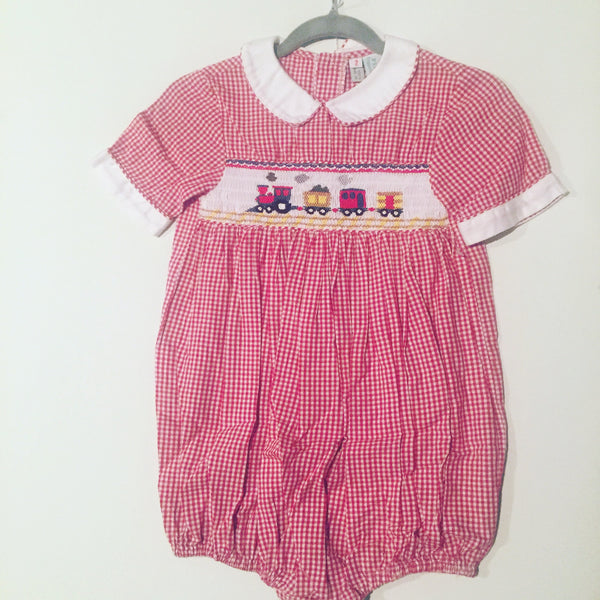 Plantation Shop Red Gingham Smocked Outfit Size 2