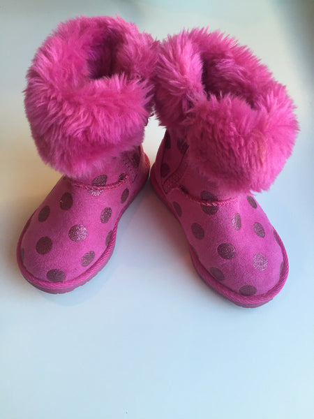 Hot pink polka dot boots Size 6