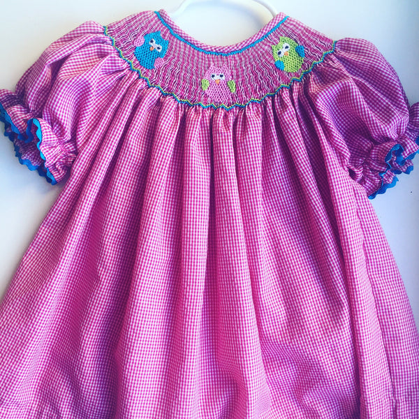 Stitched & Smocked Owl Dress