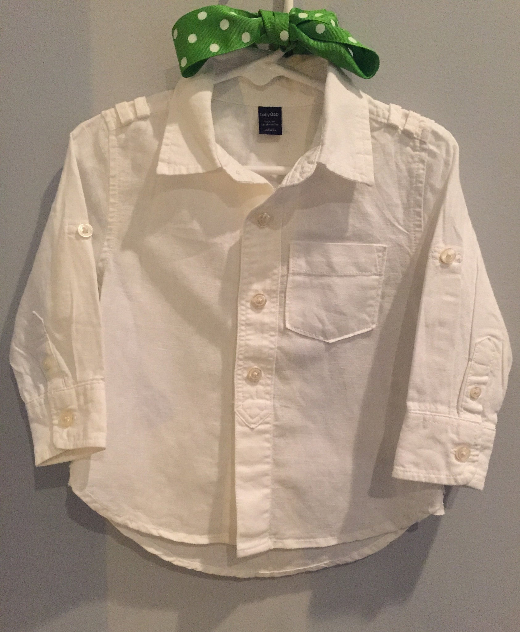 Baby Gap Long Sleeve Linen White Shirt The Argyle Alligator