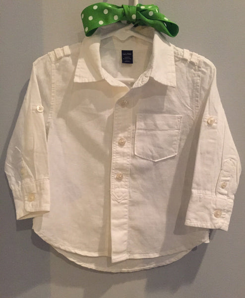 Baby Gap Long Sleeve Linen White Shirt