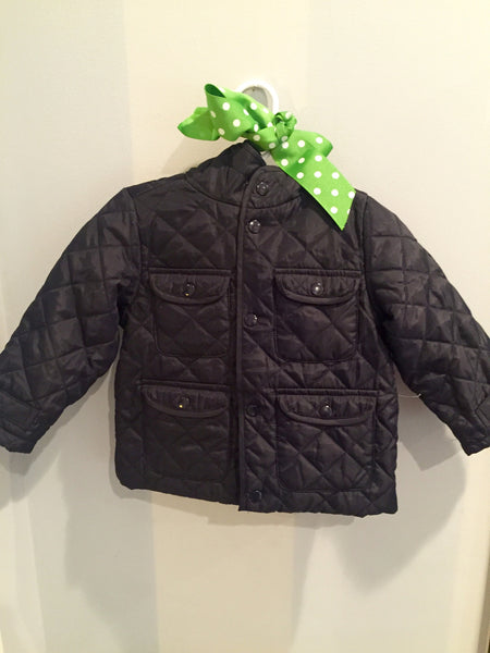 Navy Quilted Baby Zara Jacket with Gray Flannel Lining
