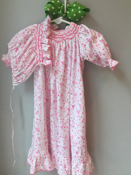 Kissy Kissy Rosebud/Floral Nightgown & matching bonnet