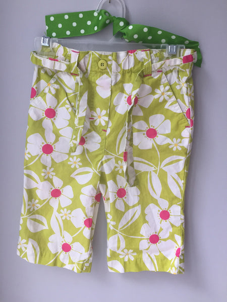 Lime Green & White Flower Pants