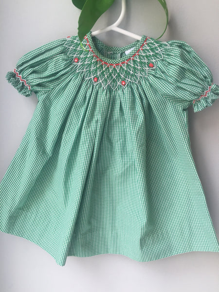 Green Holiday Smocked Dress