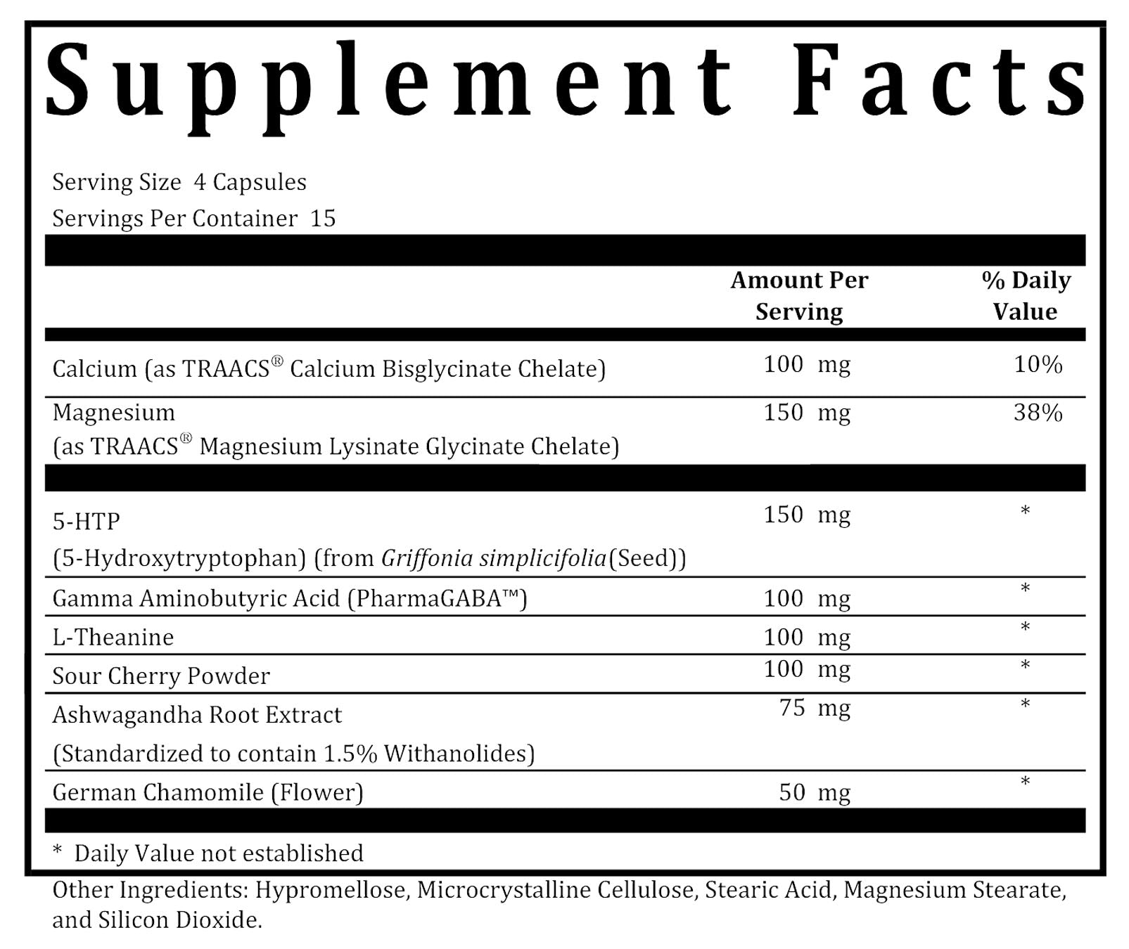 Stay Asleep supplement facts box