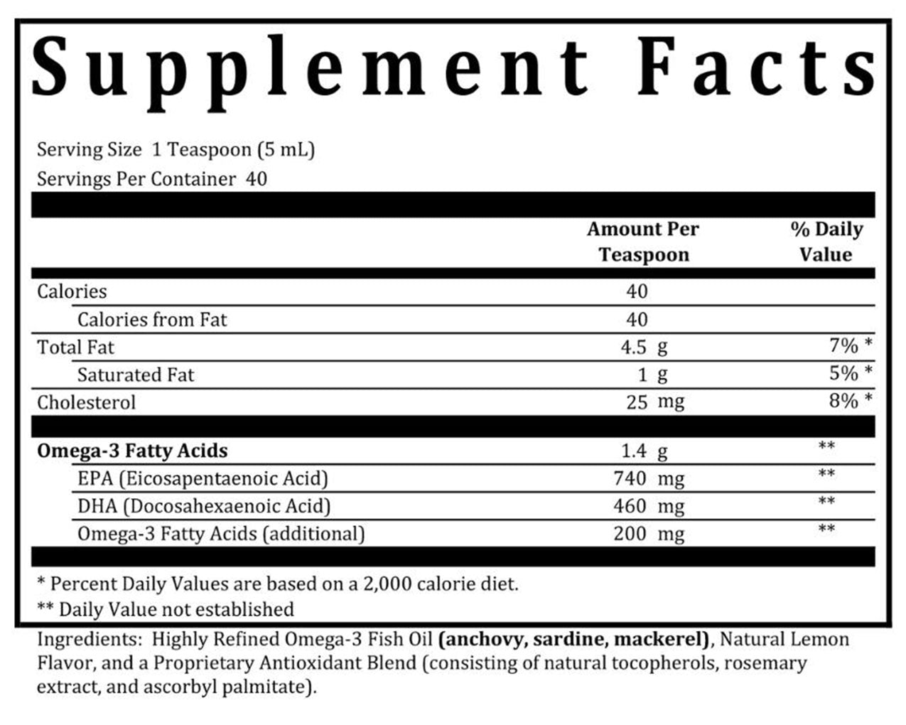Omega-3 Fish Oil Liquid supplement Facts Box