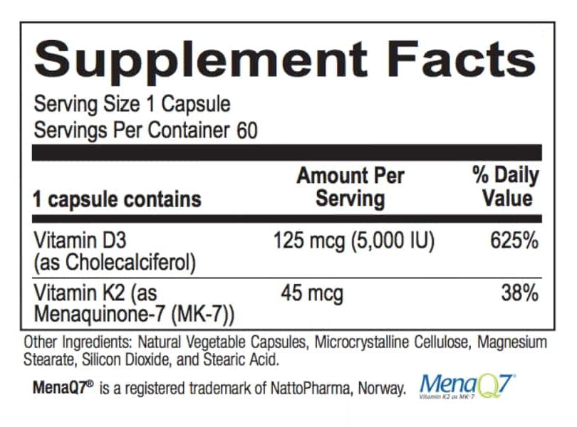 Vitamin K2 + D3 supplement facts box