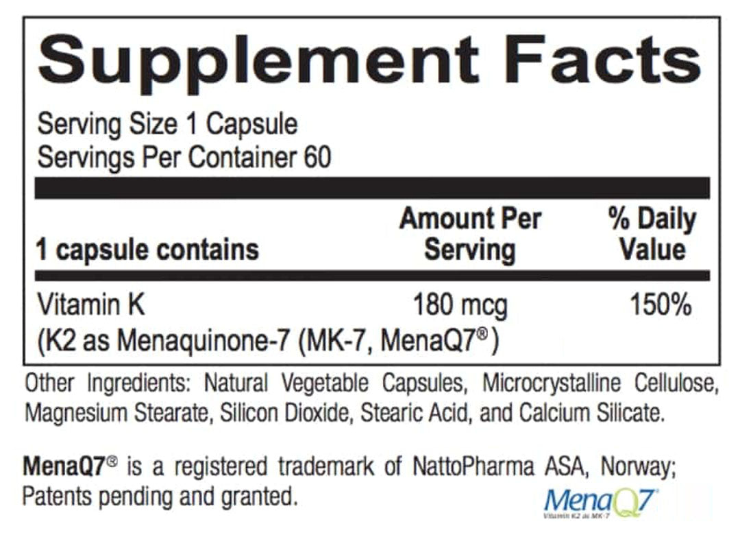 Vitamin K2 supplement facts box